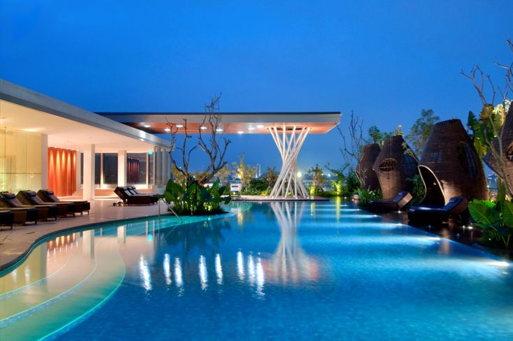 The Hilton Bandung, Indonesia  The Hilton's modern, glass-fronted hotel has a fittingly cool roof top with spa, health club, restaurant and swimming pool all overlooking the lush green mountainous surrounding the sleek city of Bandung.