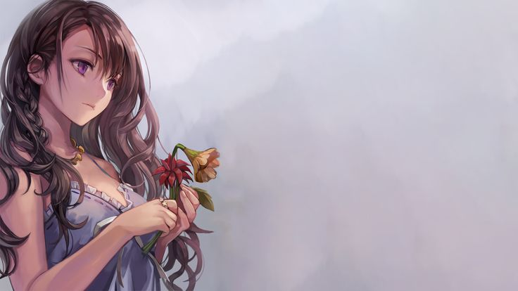 Anime 1920x1080 simple background anime girls flowers purple eyes brunettes original characters long hair soft shading