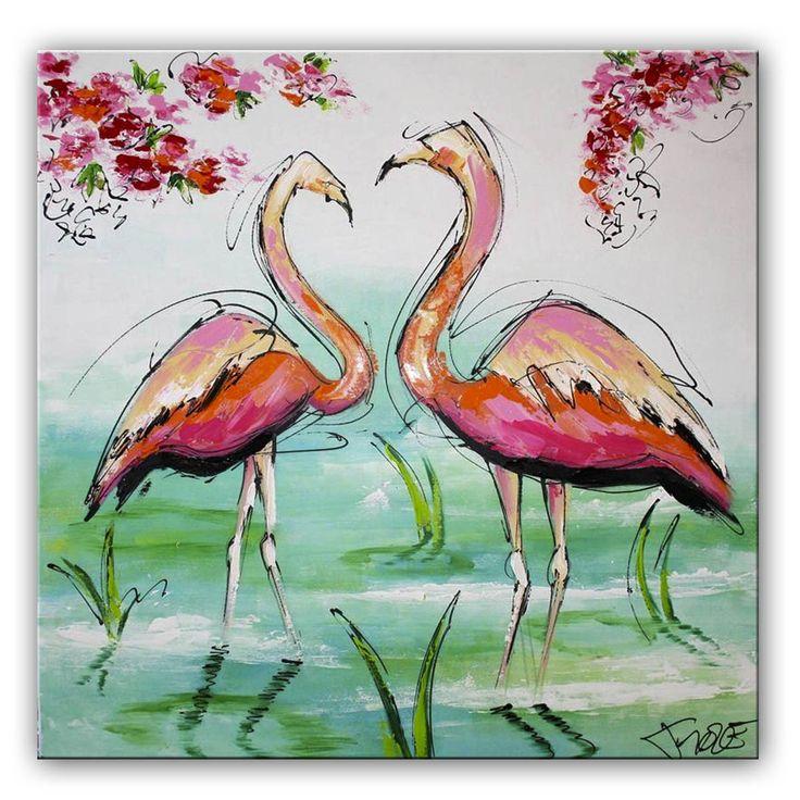 schilderij Flamingo's