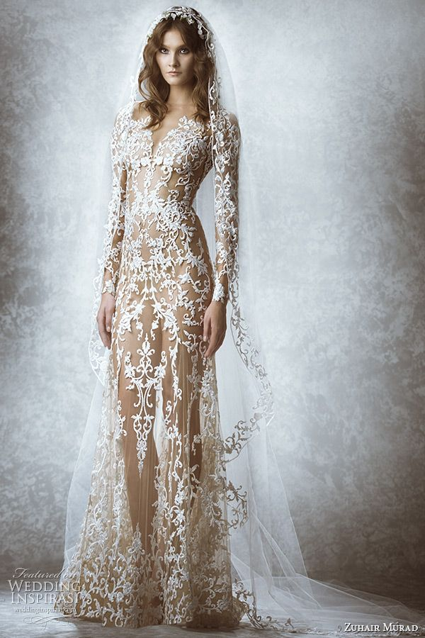 zuhair murad bridal fall 2015 wedding dress long sleeves sweetheart plunging neckline leaf floral embroidery illusion sheath gown with veil style Melodie
