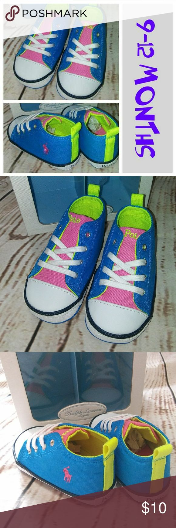 POLO baby shoes Neon shoes New in box Shoe size 4 Box says size 4 is 9-12 months Polo by Ralph Lauren Shoes Baby & Walker