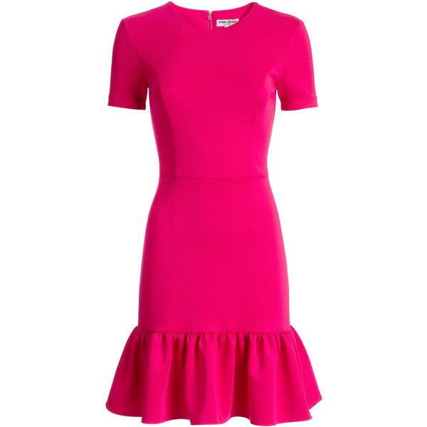 Rental Opening Ceremony Fuschia Flutter Dress ($75) ❤ liked on Polyvore featuring dresses, pink, frill dress, short sleeve dress, pink frilly dress, flutter dress and crew neck dress