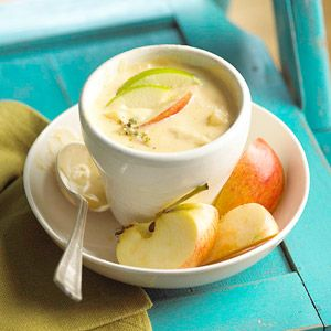 Chunks of apples and potatoes make a surprising and satisfying addition to this cheese soup recipe.