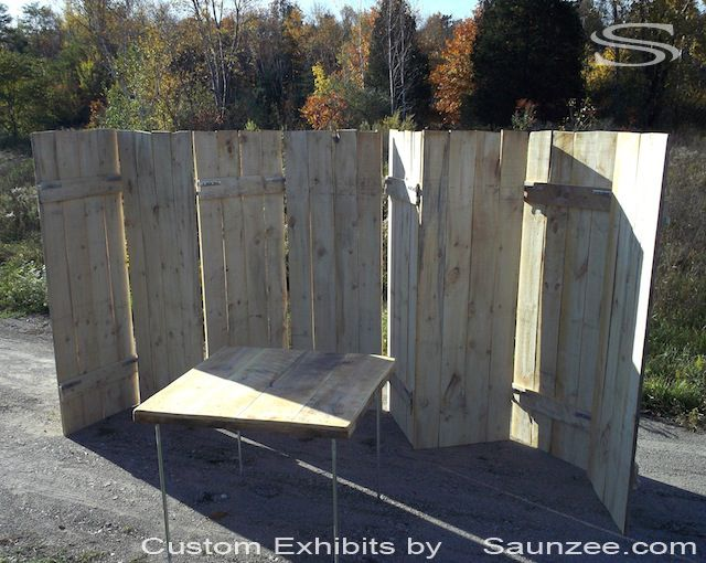 Saunzee Custom Rustic Rough Sawn Lumber Pine Wood Trade Show Booth Lightweight Wood Panels Timber Wood Exhibits and Booths Pop Up Exhibits Portable Lightweight booth Panels Hinge Together Fast Double Sided Booth Exhibits