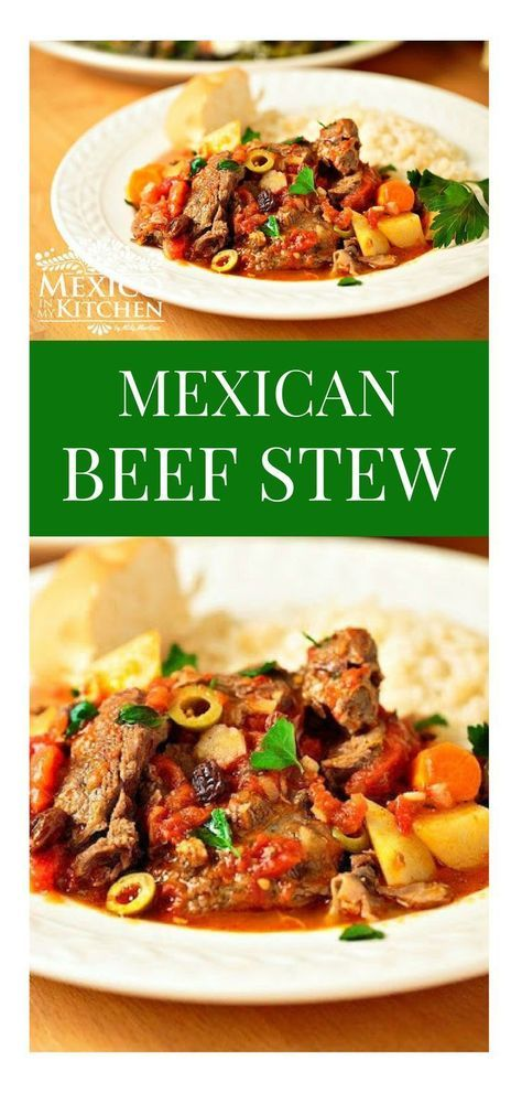This beef stew cooked with the beef shank is one of my husband's favorites. He also loves almost any dish made with this combination of tomatoes, olives, raisins, and capers.#recipe #mexican #homecook #mexicoinmykitchen