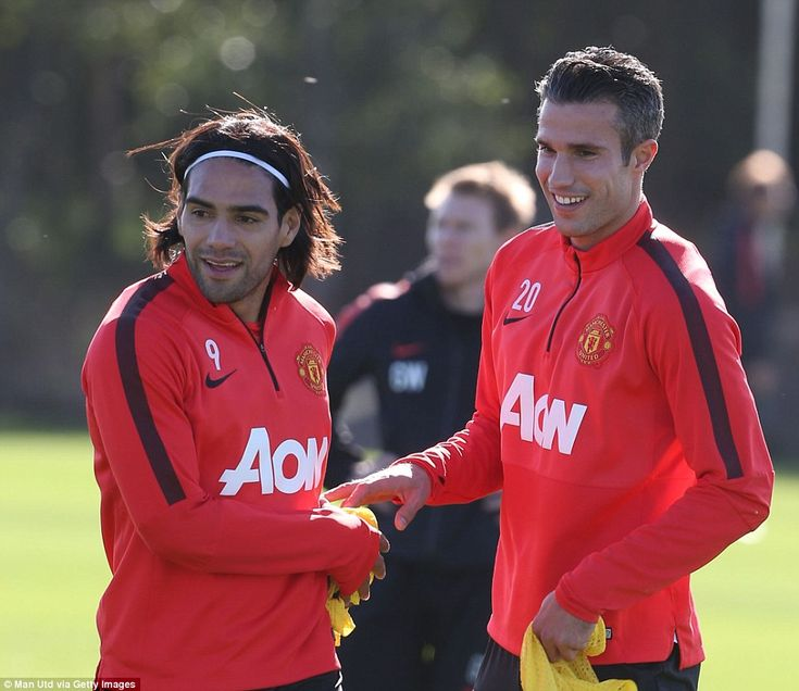 The devilish duo of Radamel Falcao and Robin van Persie chat in training a week after combining to great effect for United's opening goal against Leicester