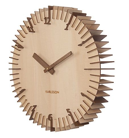 UNUSUAL RIBBED WOODEN WALL CLOCK