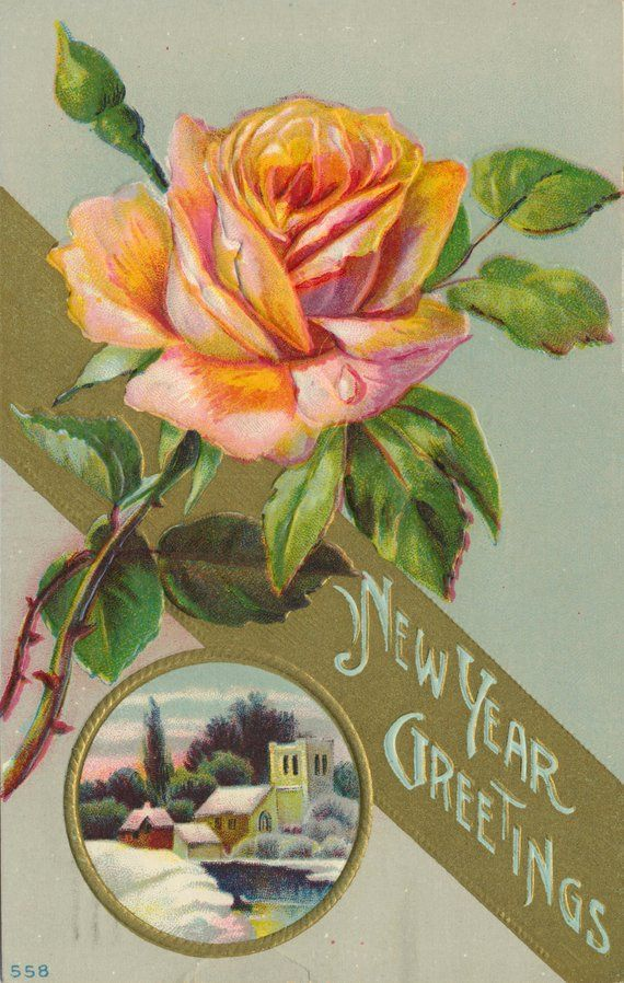antique edwardian happy new year rose postcard with new year greetings message highlighted by large orange rose blossoms circa 1914