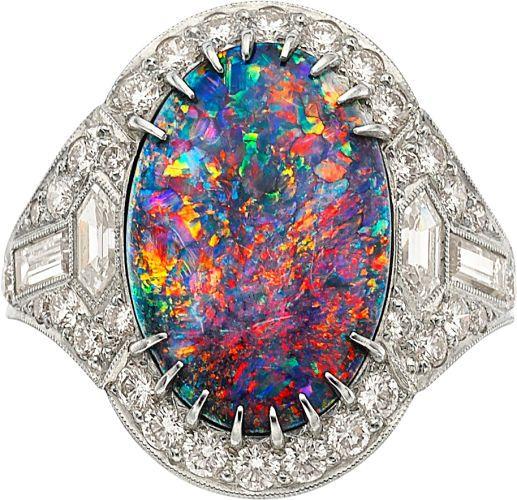 {Black Opal, Diamond, Platinum Ring} #opalsaustralia