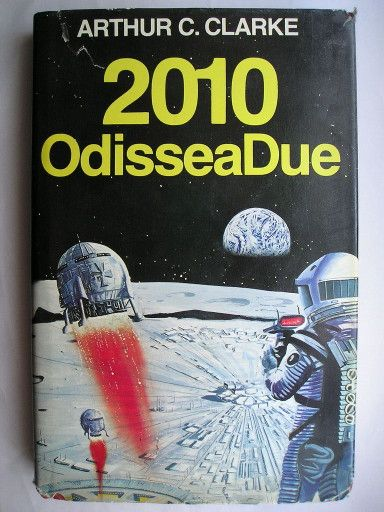 "The novel ""2010: Odyssey Two"" by Arthur C. Clarke was published for the first time in 1982. It's the second book of the Odyssey series in space and the sequel to ""2001: A Space Odyssey"". Cover by G.&R. Associati for an Italian edition. Click to read a review of this novel!"