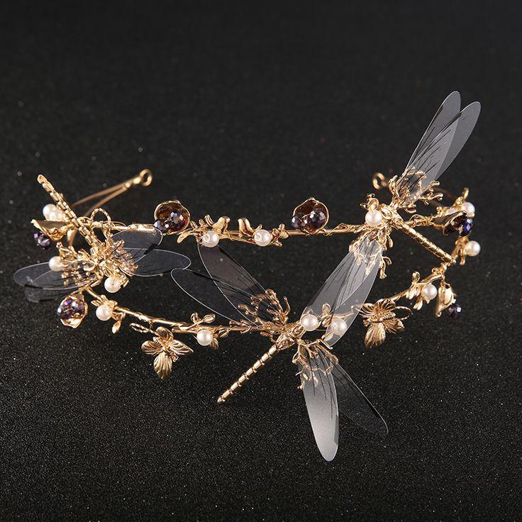 2016 Gold Dragonfly Baroque Wedding Tiara Bridal Vintage Hair Crown Accessories Women Headpiece