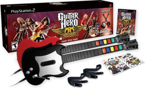 Guitar Hero Aerosmith Bundle with 2 Wired Guitars – PlayStation 2  http://www.cheapgamesshop.com/guitar-hero-aerosmith-bundle-with-2-wired-guitars-playstation-2/