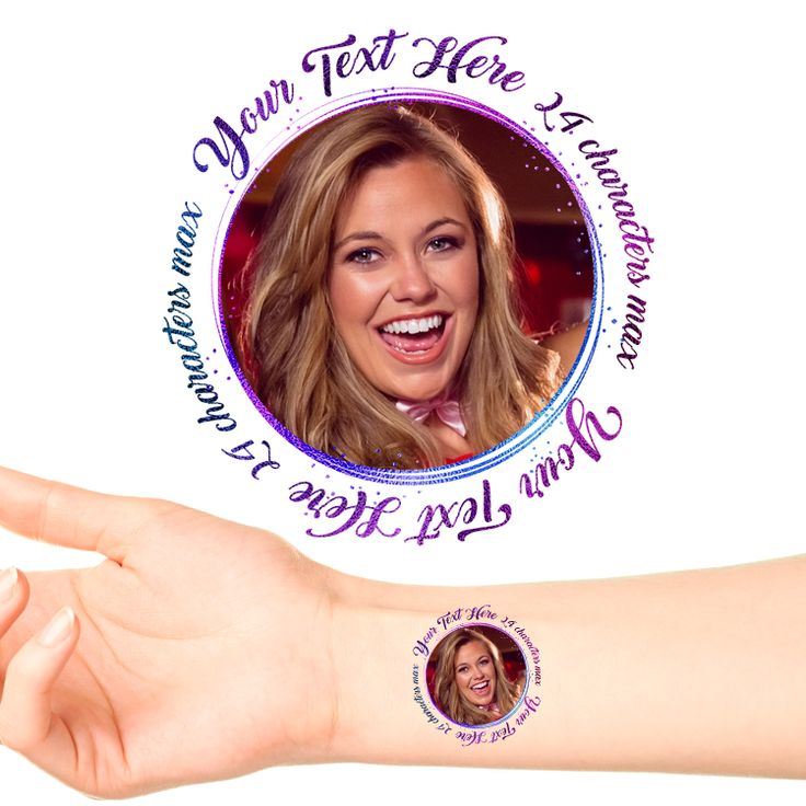 Purple Shimmer Personalised Photo Tattoo #1198 (24 pack)