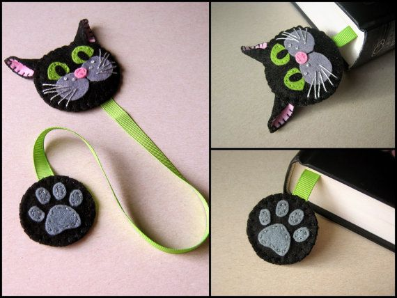 Felt cat bookmark, black cat bookmark  Listing is for 1 bookmark  Handmade from wool blend felt and wool felt.  Item is made to order  Different cat