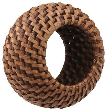 Rattan Napkin Ring Set of 4 with Tray, Honey Brown contemporary napkin rings