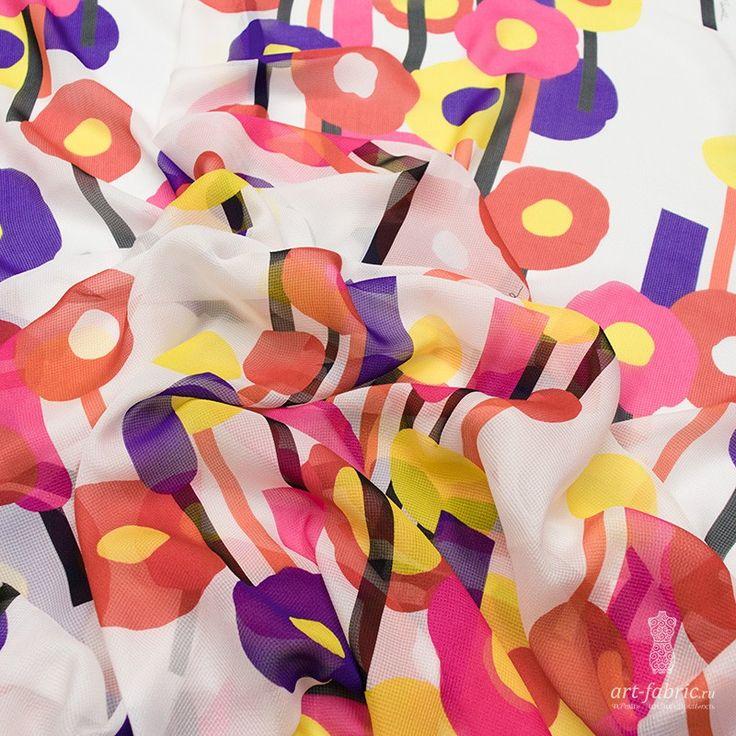 Шифон шелковый, сток JustCavalli (леденцы) (005405) купить в интернет магазине итальянских тканей по цене 2080 р.