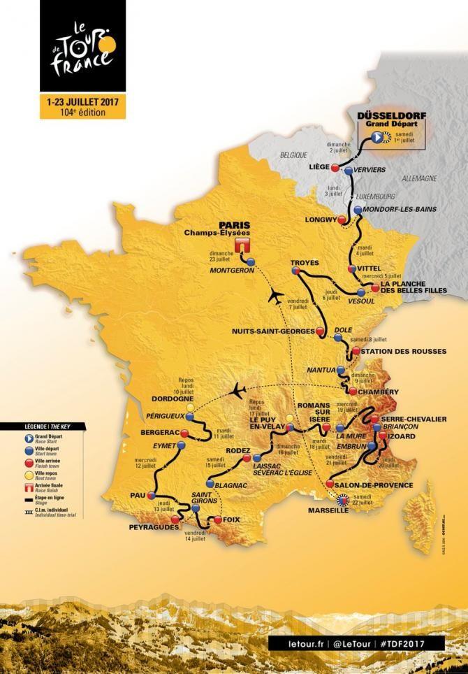 The 2017 Tour de France route map