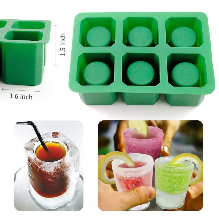 IC ICLOVER Silicone Ice Shot Glass Mold,6-cups Square Green Ice Cube Tray,Jelly Tray ,Chocolate Mold ,Food Grade Silicone Ice Shot