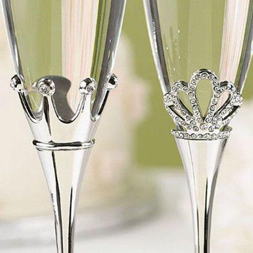 copas para bodas de princesas, diseño de corona de reina y rey, detalles con cristales #ondinecollection #bodasconestilo #bodas #copasconestilo #princess