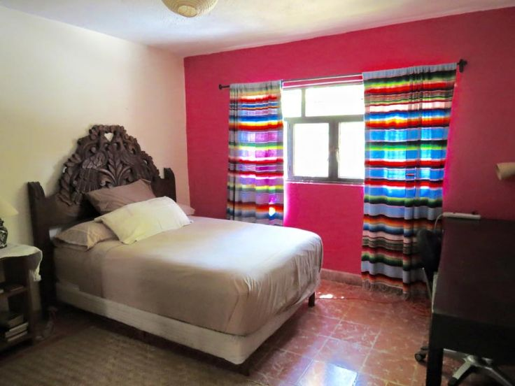 Inexpensive Mexican blankets make good curtains  Casita