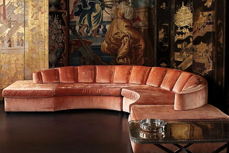 the most luxurious salmon colored seating juxtaposed with a chinoiserie inspired backdrop ...love this look.