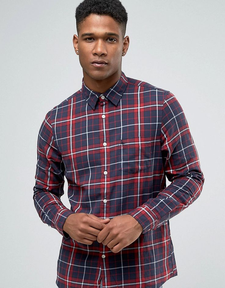 Image 1 ofJack Wills Shirt In Regular Fit In Check Navy/Red