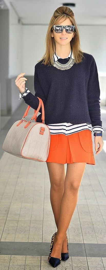 Orange Skirt Outfit Idea