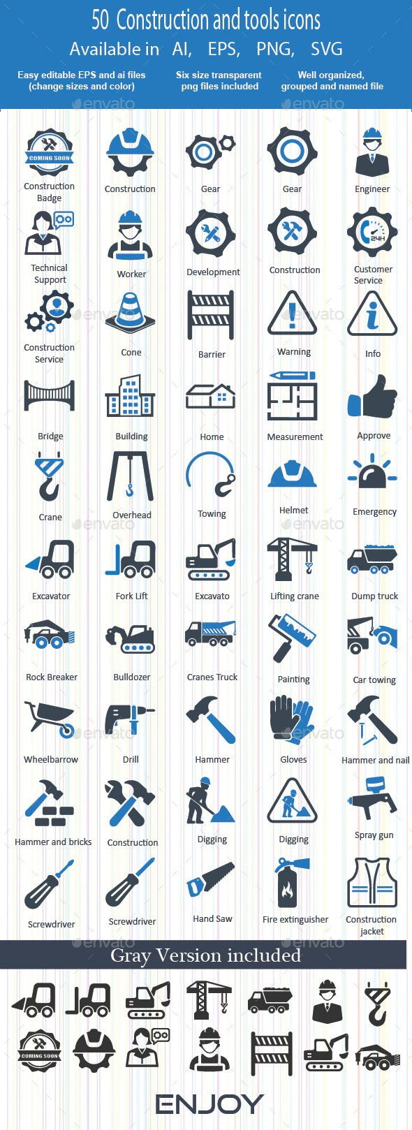 Construction and tools Icons — Vector EPS #worker #and • Available here → https://graphicriver.net/item/construction-and-tools-icons/13665961?ref=pxcr