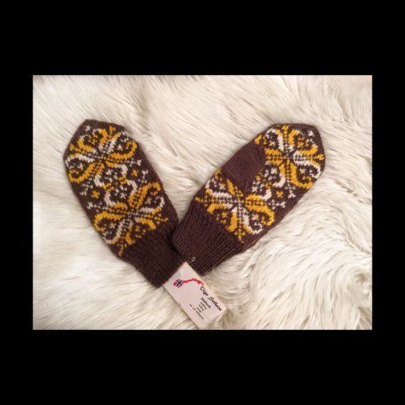 100% Norwegian wool Handmade knitted mittens with от NorwayWool