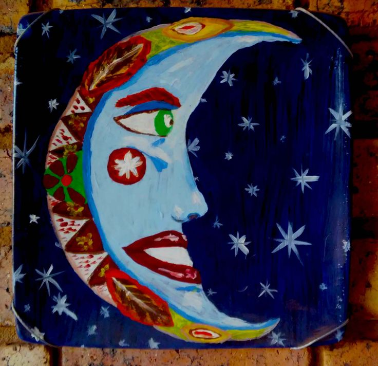 Moon. Acrylic on an old dinner plate.