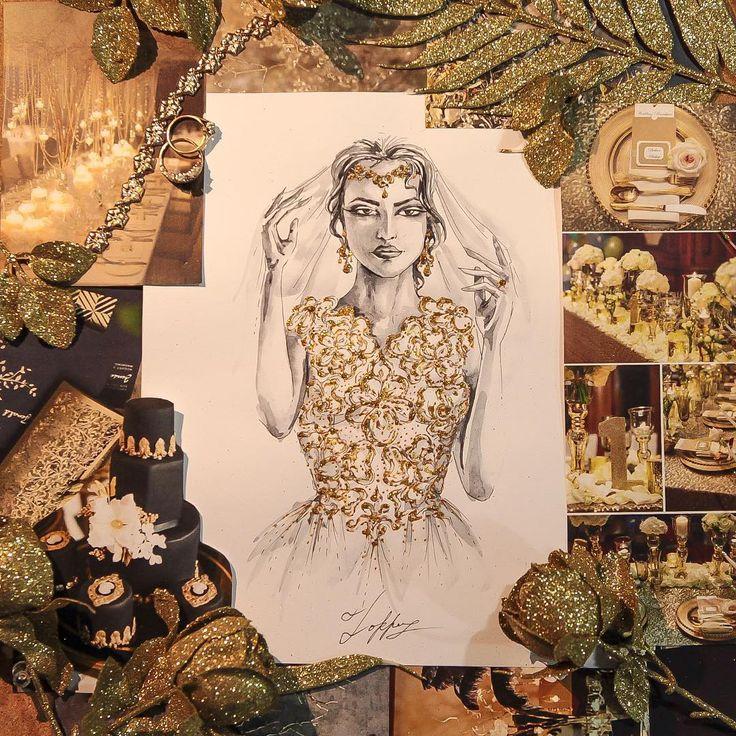 Невеста в платье с вышитым лифом и украшениями✨ #рисунок #девушка #портрет #невеста #свадьба #эскиз #арт #бумага #набросок #ксвадьбе #цветы #золотой #белое #art #artist #artwork #draw #bride #Wedding #sketch #fashionillustration #fashionsketch #illustration