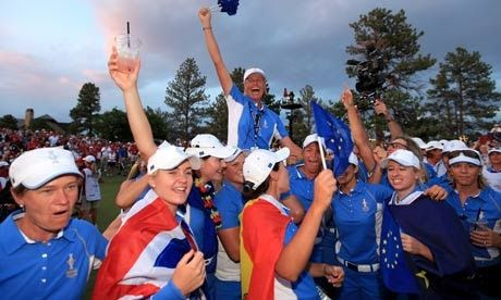 Scotland's Catriona Matthew made history as she secured the half Europe needed to win the Solheim Cup