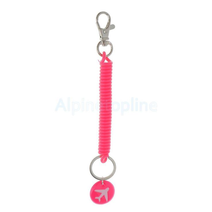 Bracelet Type Spring Coil Keyring Retractable Theftproof Key Chain Rose Red