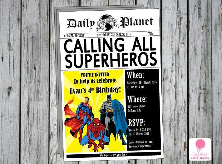 Superhero Personalised Invitations - Printable - Invites - Digital Print - Comic - Spiderman, Batman, Captain America - Boys Birthday Party by LollipopPartyDesigns on Etsy