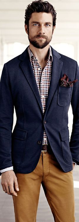 Navy blazer and camel trousers