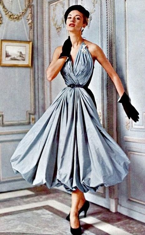 Model wearing a gown by Madame Grés, 1953.