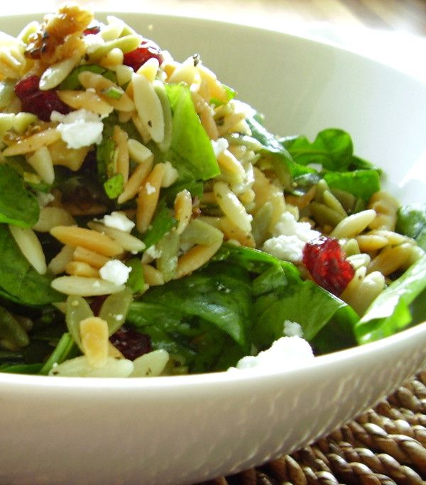 Pasta salad too starchy for you? Make it half whole grain pasta + half fresh greens (& things). Try lemon + evoo dressed whole-wheat orzo with fresh arugula & fresh herbs. Accent with dried fruit and crumbled feta.