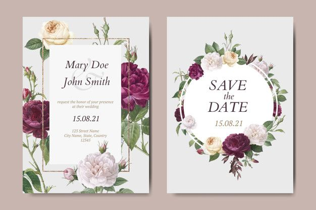 Download Floral Wedding Invitation Card Vectors Set For Free In