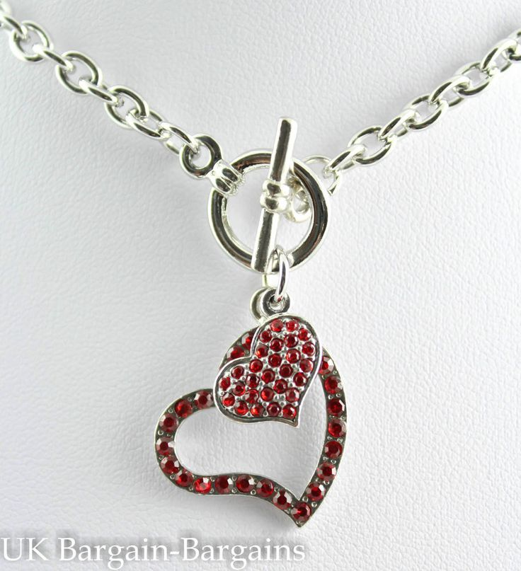 New Silver Plated Red Crystal Double Heart Toggle Chain Necklace Boho Chic