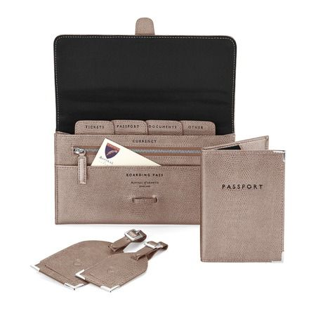COMPLIMENTARY PERSONALISATION OF INITIALS The perfect travel accessory to your hand luggage, make sure you stay organised in style with our Classic Plain Travel Collection. Handmade from the finest pewter lizard print Italian calf leather and...