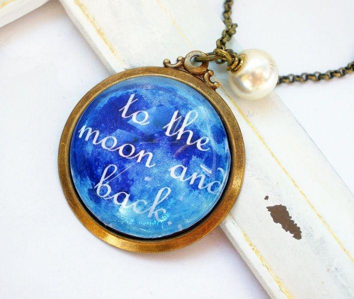 """Ketten mittellang - Kette bronze """"To the Moon"""" blau - ein Designerstück von kirschrot-schmuckdesign bei DaWanda"""