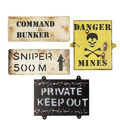 Set Of 4 Wooden Army Wall Signs - Kids Army Bedroom Signs