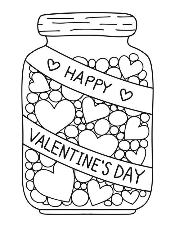 Candy Jar coloring page; Valentine\'s Day | Valentine\'s Day ...