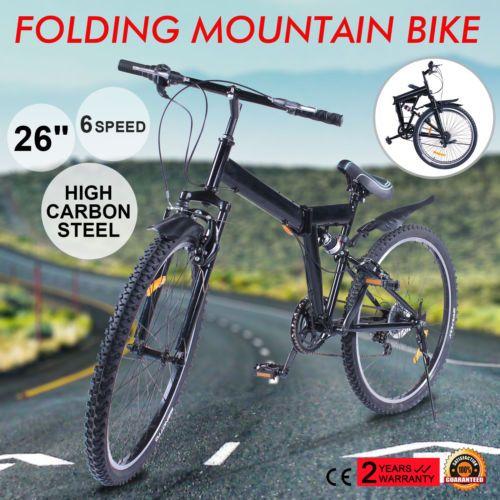 "26"" Bicicleta De Montaña 6 Velocidad Plegable MTB  Adulto"