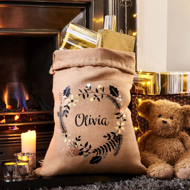 Wonderful personalised hessian gift bag sack available this festive season at Pushka Home.  Our hessian gift bag sacks are perfect for holding all your Christmas gifts/ Hanukkah gifts for that special someone this year. Great as part of a collection of unique presents or can be a seasonal gift or stocking filler to give to a daughter, son or partner.  We have an assortment of personalised & gorgeous festive hessian gift bag sacks with a touch of metallic colour.