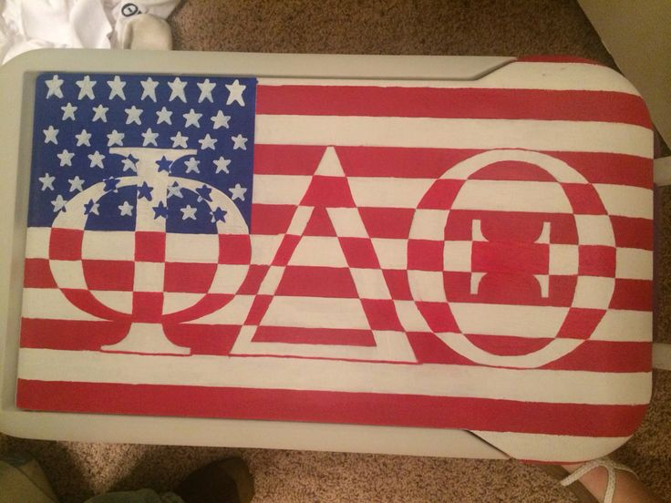 Fraternity cooler, phi delta theta cooler, American flag cooler, painted cooler