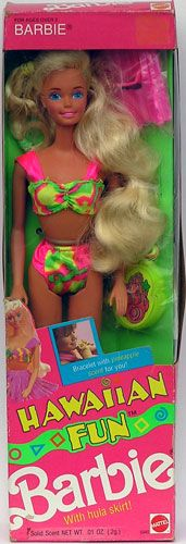 Hawaiian fun Barbie 1990.....loved the perfume bracelet that came with her!