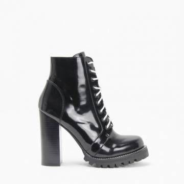Jeffrey Campbell LEGION Black Box Calf Leather Lace Up Lug High Heel Bootie