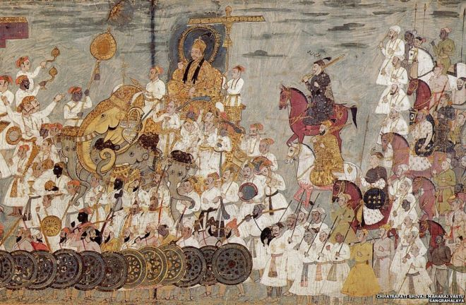This 17th-century cloth painting depicts a procession of Deccani sultan Abdullah Qutb Shah. African guards can be seen as part of the sultan's army