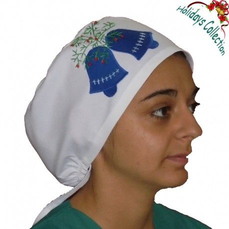 Surgical cap for all medical or other uses.Lovely and wonderful design! This scrub features handmade embroidered Christmas decoration with bells and mistletoe!
